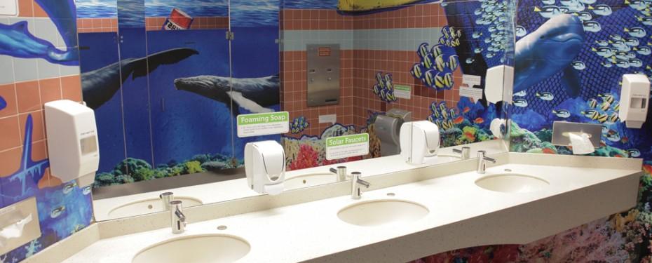 Sinks in Green Washroom