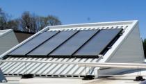 Solar panels on white roof