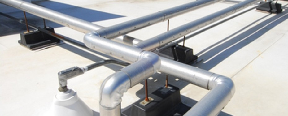 Solarthermal piping on white roof