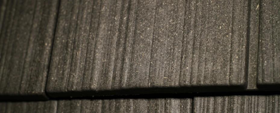 Rubber roof tiles closeup